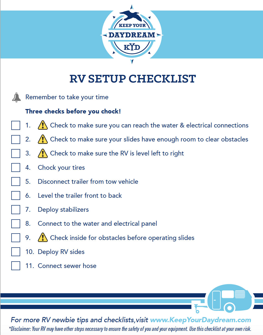 It is a picture of Rv Checklist Printable for ultimate camping
